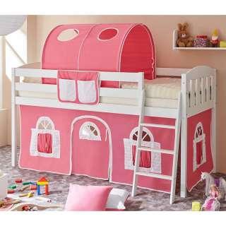 Kinder Hochbettgestell mit Stofftunnel und Vorhang in Pink halbhoch