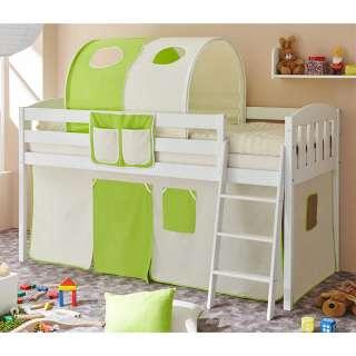 Halbhohes Bett für Kinder Stofftunnel und Vorhang in Hellgrün