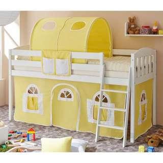 Kinderzimmerbett mit Stofftunnel und Vorhang in Gelb halbhoch