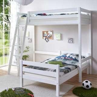 Jugendhochbett in Weiß Kiefer Massivholz