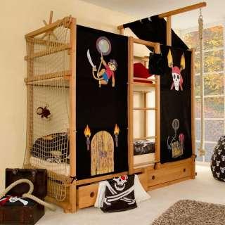 Etagenspielbett im Piraten Design Buche Massivholz