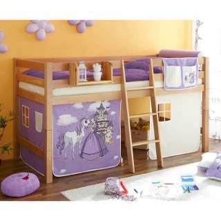 Halbhohes Bett aus Buche Massivholz Vorhang im Prinzessin Design