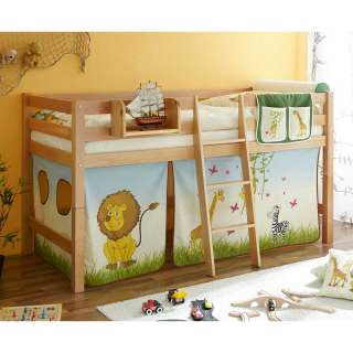 Kinderzimmer Bett mit Vorhang im Zootier Design Buche Massivholz