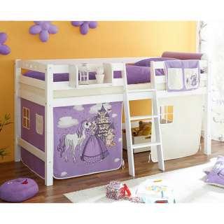 Vorhang Halbhochbett im Prinzessin Design Weiß und Lila