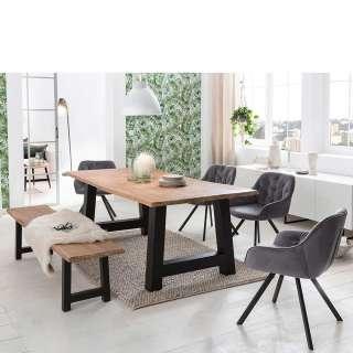 Esszimmergarnitur mit Baumkantentisch Sitzbank (6-teilig)