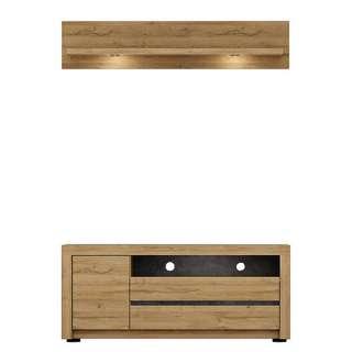 Wohnzimmermöbel in Wildeichefarben und Dunkelgrau modern (2-teilig)