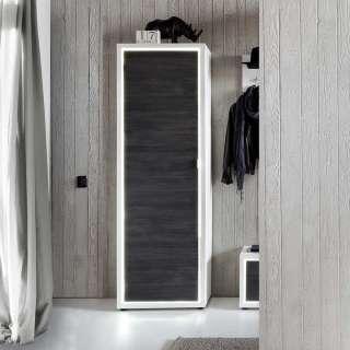 Garderobenschrank in Weiß und Dunkelgrau 60 cm breit
