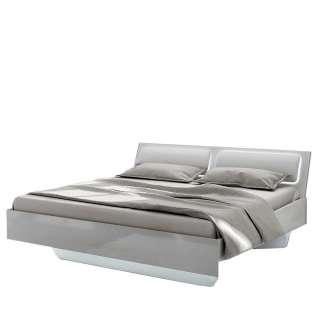 Design Doppelbett in Weiß Polsterkopfteil