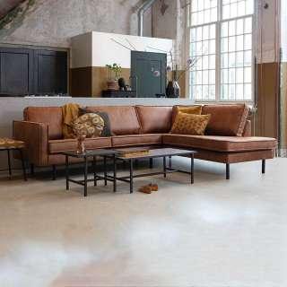 Design Eckcouch in Cognac Braun Kunstleder