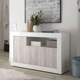 Türen Kommode in Weiß Hochglanz und Pinie Weiß Dekor modern