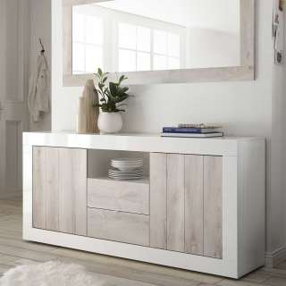 Modernes Sideboard in Weiß Hochglanz und Pinie Weiß Dekor zwei Schubladen