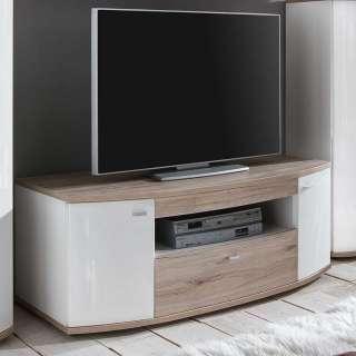 TV Unterschrank in Weiß Hochglanz und Eiche San Remo 130 cm breit