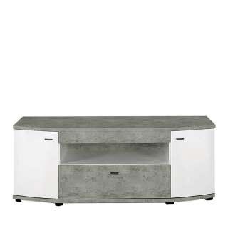 TV Tisch in Weiß Hochglanz und Beton Grau 130 cm breit