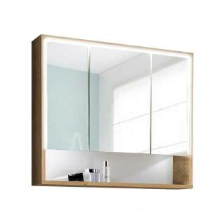 Bad Spiegelschrank in Wildeiche Optik LED Beleuchtung