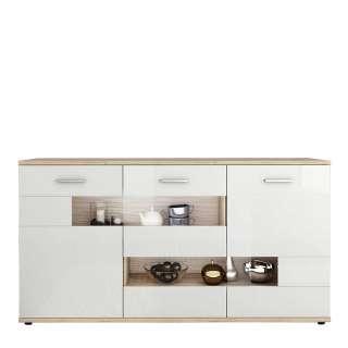 Wohnzimmer Kommode in Weiß Hochglanz und Wildeiche Optik Glastür