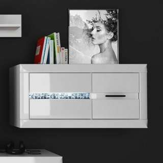Wohnzimmer Hängeschrank in Weiß Hochglanz und Mosaikstein Optik 1-türig