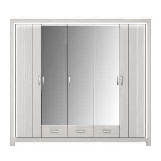 Drehtürenschrank in Weiß Spiegeltüren und Schubladen
