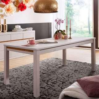 Tisch in Weiß und Eichefarben Kiefer Massivholz