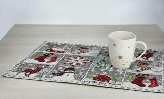 LAVIDA Platzset  Schneebilder ¦ rot ¦ 60% Baumwolle 40% Polyester ¦ Maße (cm): B: 32 Weihnachten - Höffner