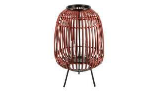 Windlicht ¦ rot ¦ Glas , Bambus, Metall ¦ Maße (cm): H: 40 Ø: [25.0] Dekoration > Laternen & Windlichter - Höffner