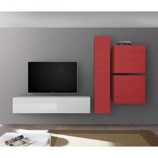Design Wohnzimmer Schrankwand in Rot und Weiß Hochglanz modern (4-teilig)