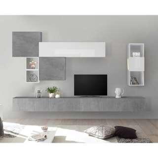 Moderne Anbauwand in Hochglanz Weiß und Beton Grau hängend (8-teilig)