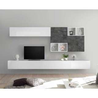 Hängende Schrankwand in Hochglanz Weiß und Dunkelgrau modern (9-teilig)