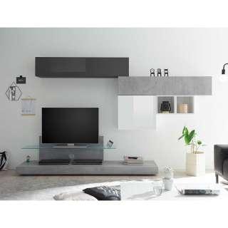 Design Wohnwand in Beton Grau und Anthrazit Hochglanz Weiß Hochglanz (6-teilig)