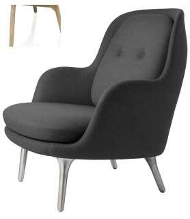 Fritz Hansen - Fri Loungesessel - JH5 - Holzgestell aus Eiche - grau - indoor