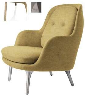Fritz Hansen - Fri Loungesessel - JH5 - Holzgestell aus Eiche - beige - indoor