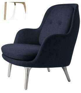 Fritz Hansen - Fri Loungesessel - JH5 - Holzgestell aus Eiche - dunkel blau - indoor