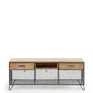 Design Fernsehboard aus Mangobaum Massivholz und Stahl 130 cm breit