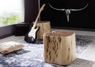 Baumstammhocker Akazie 50x50x40 natur lackiert NATURALIDOL #102