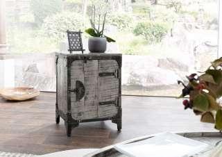 Nachttisch 46x40x64 cm grau lackiert HEAVY INDUSTRY #165