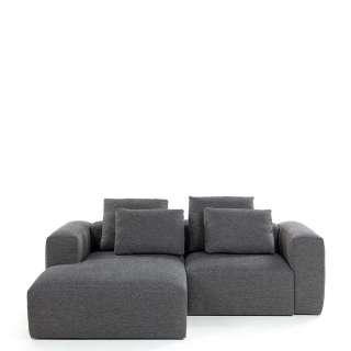 Sofa Eckgarnitur in Dunkelgrau Webstoff 240 cm breit