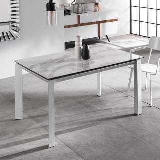 Ausziehbarer Esszimmer Tisch in Weiß und Hellgrau Keramikplatte