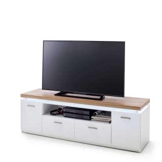 TV Schrank in Weiß und Wildeichefarben LED Beleuchtung
