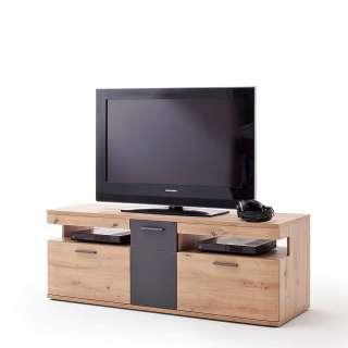 TV Möbel in Eichefarben und Anthrazit 150 cm breit
