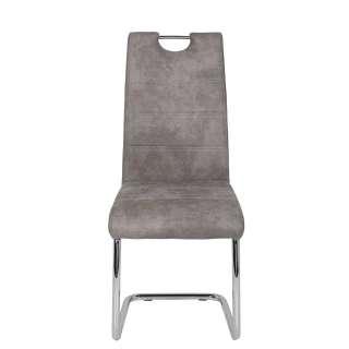 Retro Couch in Grau Webstoff 240 cm breit