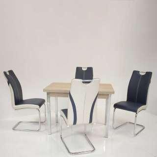 Küchen Sitzgarnitur in Sonoma Eiche Dunkelblau Weiß Kunstleder (5-teilig)