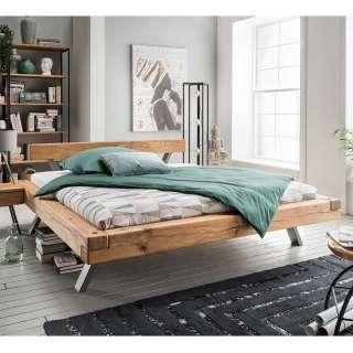 Massives Balkenbett aus Wildeiche geölt modern