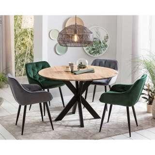 Esszimmer Sitzgarnitur mit rundem Esstisch Loft Design (5-teilig)