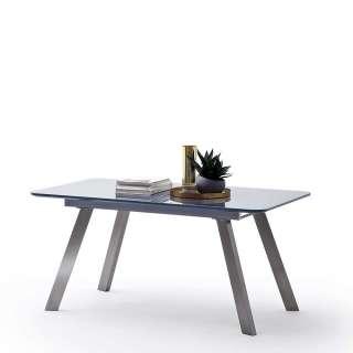 Glastisch in Grau und Silberfarben ausziehbar
