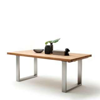 Holztisch aus Wildeiche Massivholz Bügelgestell aus Edelstahl