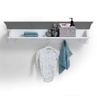 Wandhängeregal für Babyzimmer Weiß Kiefer massiv