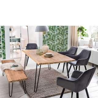Baumkanten Esstischgruppe aus Akazie White Wash massiv Sitzbank (6-teilig)