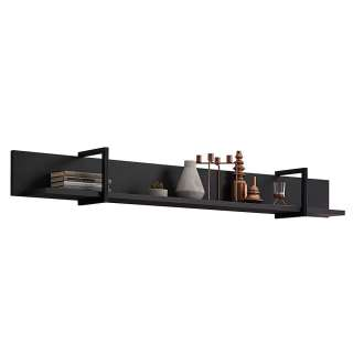 Wohnzimmer Wandboard in Schwarz und Dunkelgrau 160 cm breit
