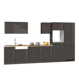 Einbauküchenzeile in Grau Hochglanz 360 cm breit (8-teilig)