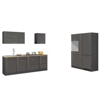 Küchenzeile in Grau Hochglanz Geräte (9-teilig)