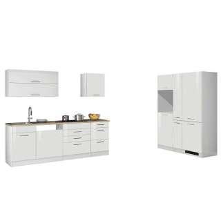 Hochglanz Einbauküchenzeile in Weiß Made in Germany (9-teilig)